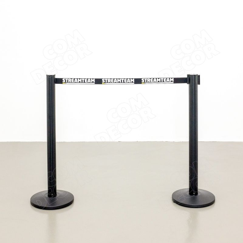 Barrier posts and branded retractable belt