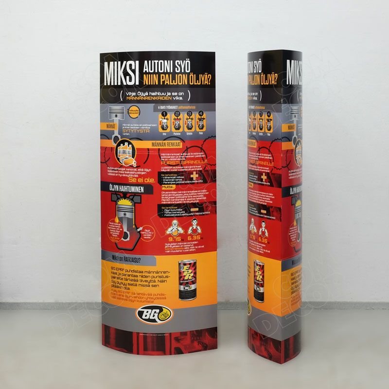 Cardboard pop up advertising - ellipse pylon