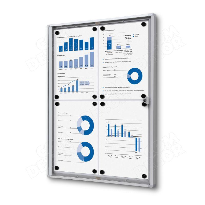 Lockable notice board / bulletin board A2