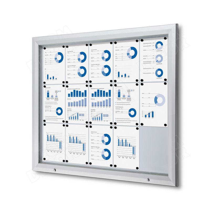 Lockable outdoor notice board / bulletin board 15 A4